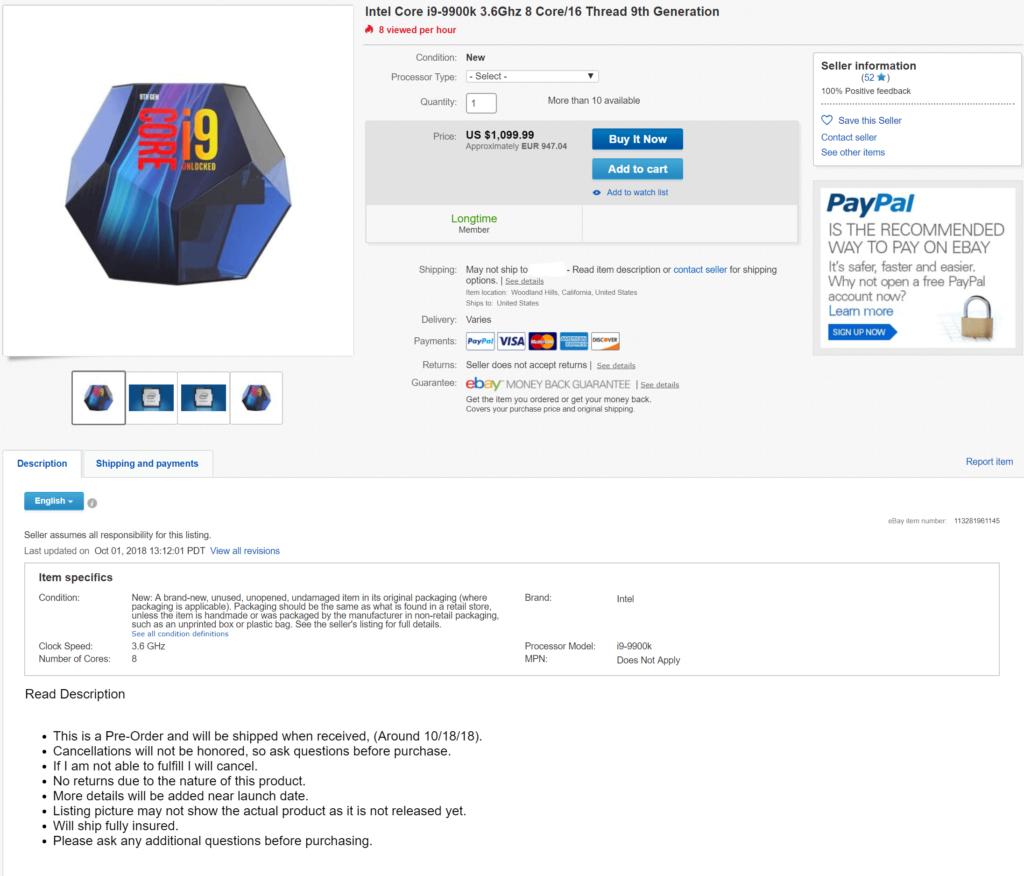 Intel 9th-gen i9-9900K pre-order on eBay