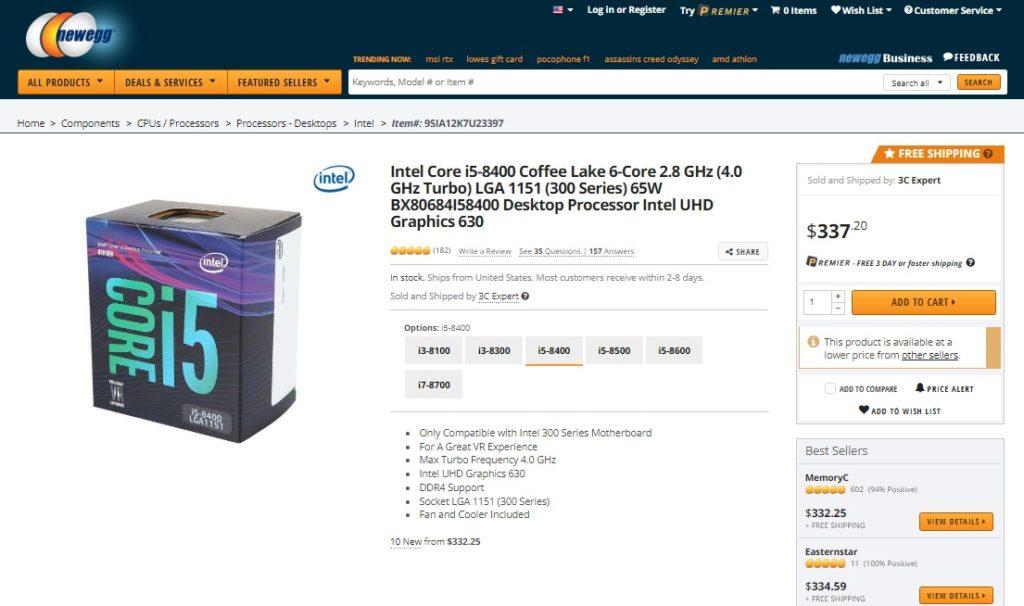 Intel core i5-8400 listing on Newegg