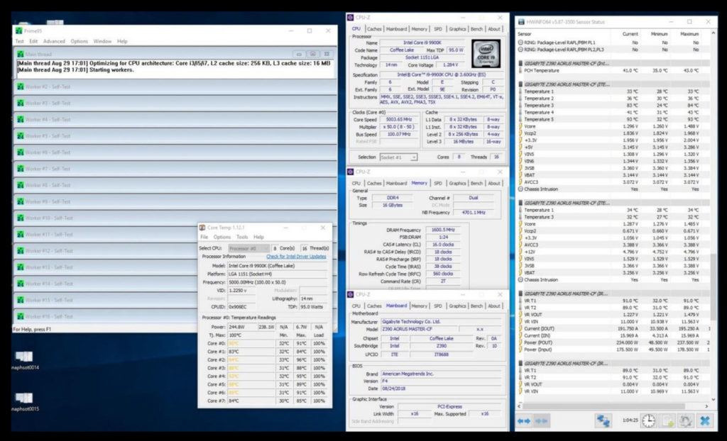 Intel i9-9900K runs Incredibly Hot at 5GHz OC in Gigabyte's