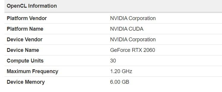 Nvidia RTX 2060 Specs (Geekbench)