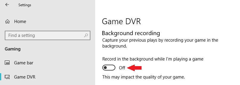Disable Game DVR in Windows 10