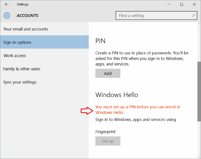 Fix Windows 10 fingerprint greyed out