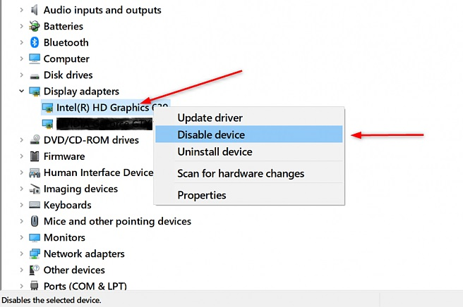 Disable integrated graphics Device Manager
