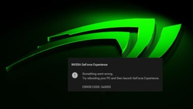 Fix Geforce Experience Error Code 0x0003