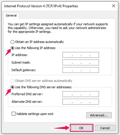 Disable DHCP (IP address manual)