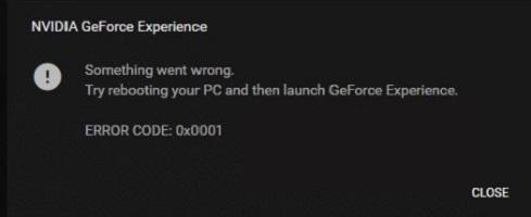 GeForce Experience Error Code 0x0001