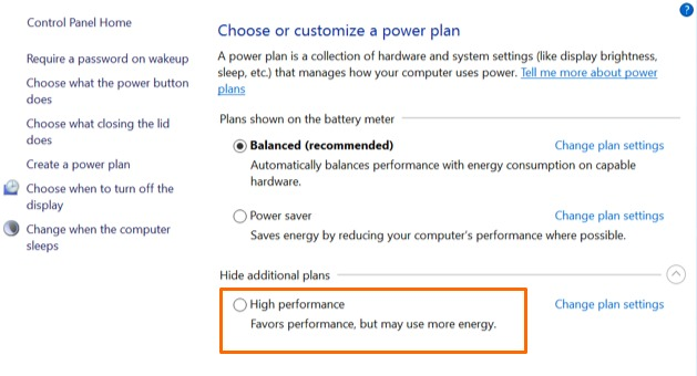 Windows High Performance Power Plan