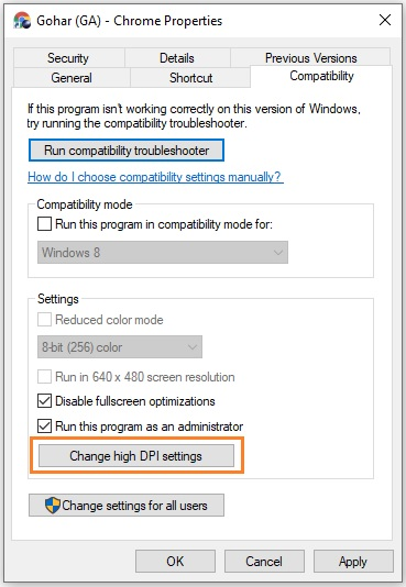 Change high DPI settings