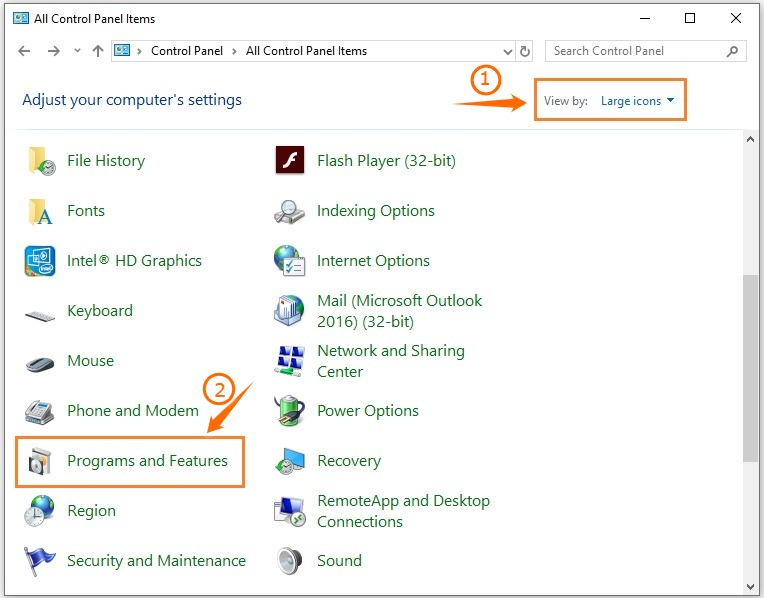 Control Panel > Programs and Features