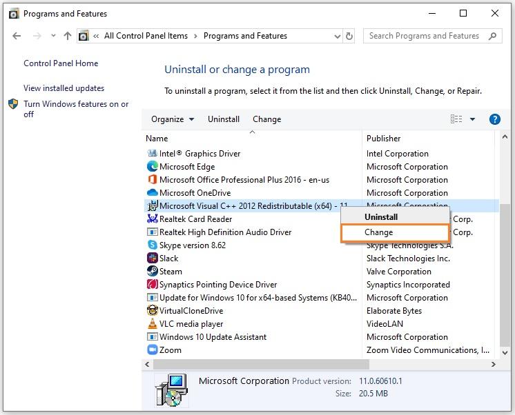 Control Panel > Microsoft Visual C++ Redistributable