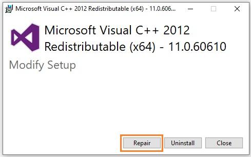 Repair Microsoft Visual C++ Redistributable