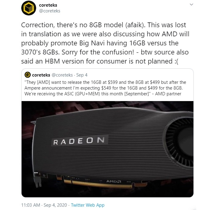 AMD Radeon RX 6000 aka Big Navi Pricing leaked