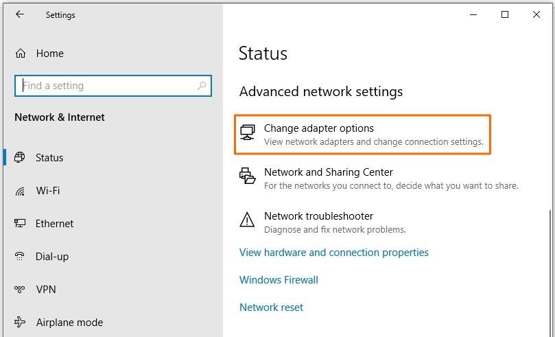 Error code 0x800704cf - Change adapter options in Settings