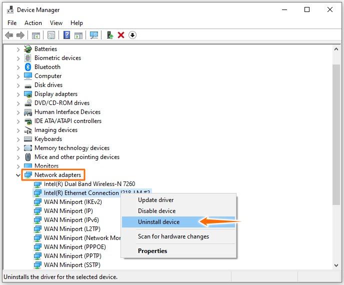 Error code 0x800704cf - Reinstall network adapters