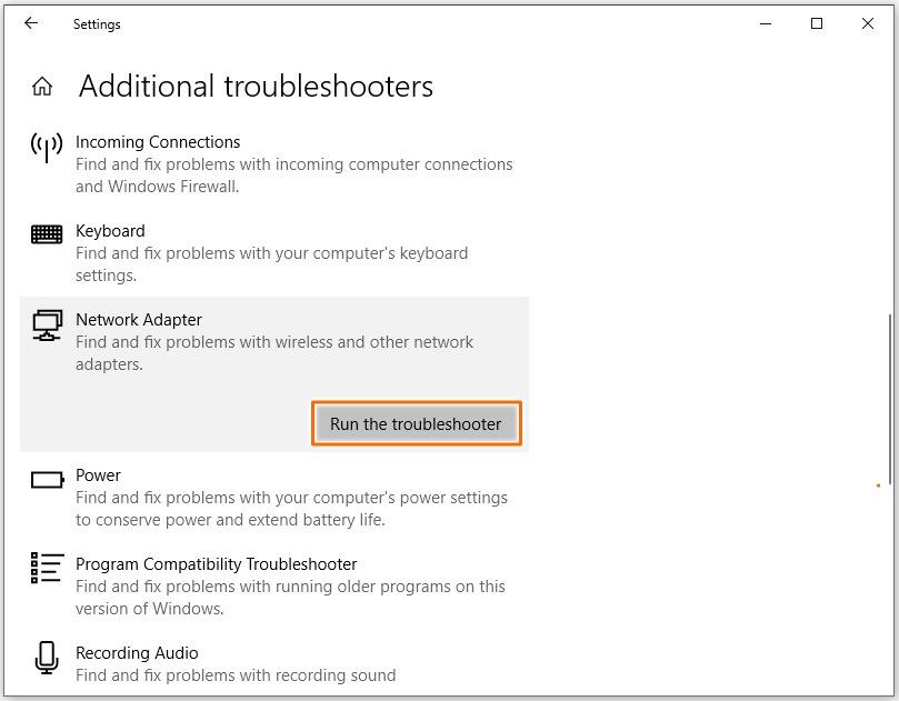 Error code 0x800704cf - Run Windows troubleshooter