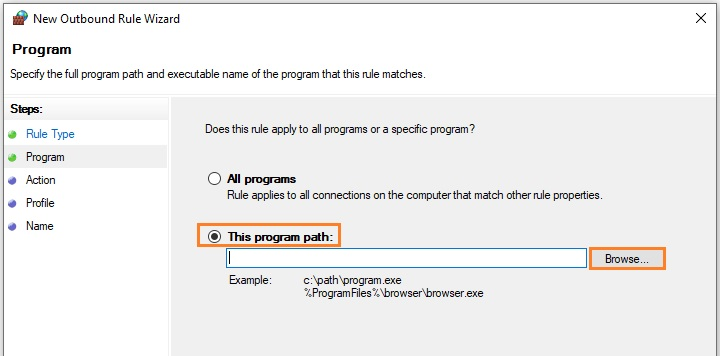 Browse the program path