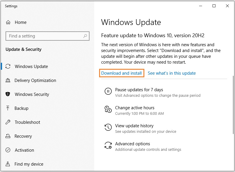 Install the latest Windows update