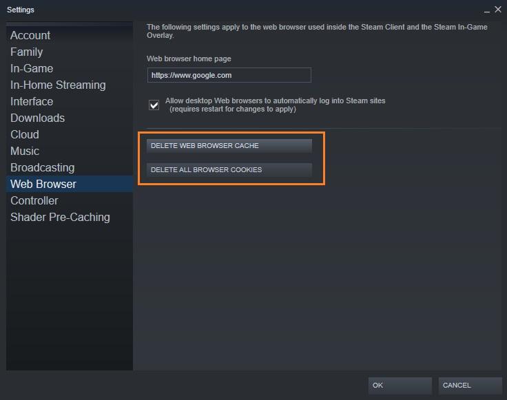 Clear Steam browser cache to fix Friends Network Unreachable error