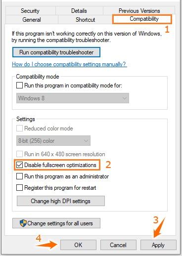 Disable fullscreen optimizations to fix Fortnite crashing