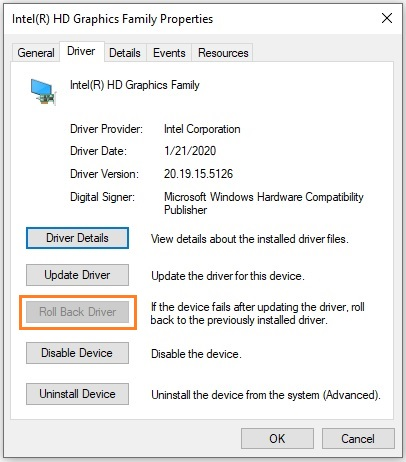 Fix 'Display driver failed to start' error by rolling back the graphics driver