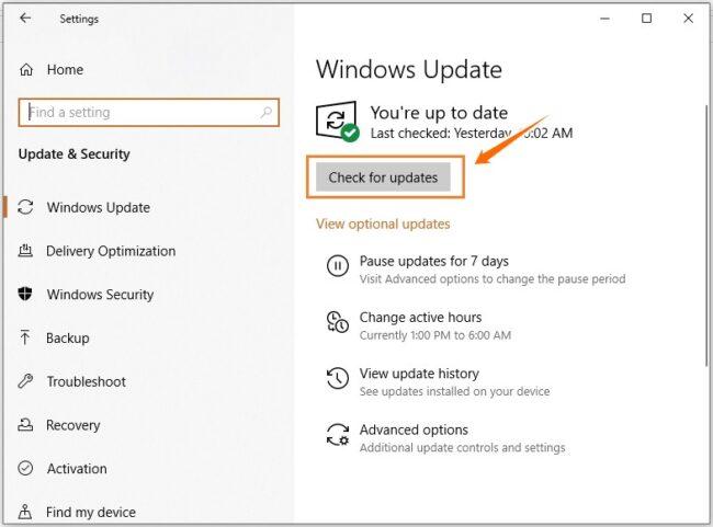 Fix the error by updating Windows