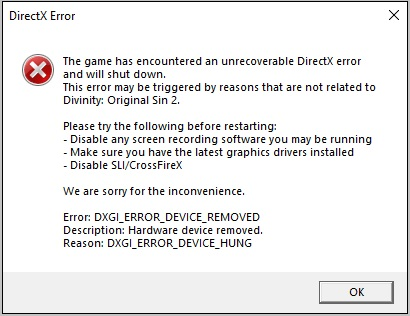 Divinity Original Sin 2 DirectX error